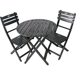 Black Solid Hardwood Eucalyptus Patio Furniture Folding Design Bistro Set