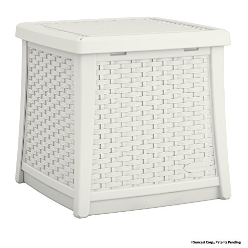 Suncast Elements Coffee Table With Storage White: Suncast ELEMENTS End Table With Storage, White