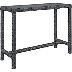 Modway Summon Outdoor Patio Glass Top Rectangle Bar Table, Gray
