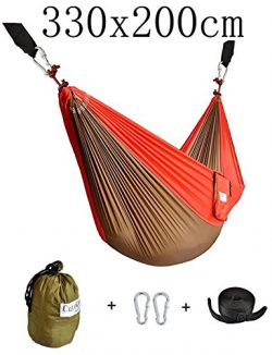 CUTEQUEEN TRADING Double Nest Ultralight Portable Outfitters Parachute Nylon Fabric Hammock For  ...