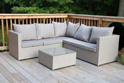 Oliver Smith – Large 4 Pc Modern Beige Rattan Wiker Sectional Sofa Set Outdoor Patio Furni ...
