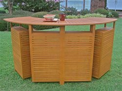 International Caravan TT-BR-001-IC Furniture Piece Royal Tahiti Outdoor Wood Fold Out Bar