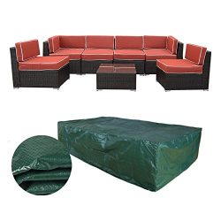 Caymus 126 x63 x28 inch Extra Large Patio Furniture Cover for 7pieces Rattan Wicker Furniture So ...