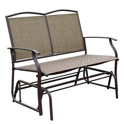 HollyHOME Patio Swing Glider Bench for 2 person, Garden Chair Rocking Loveseat, All Weatherproof ...
