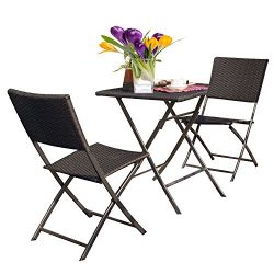 Grand patio Rattan Patio Set,Outdoor table Sets with Rust-proof Steel Frames, 3 Piece Weather Re ...