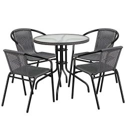 """Flash Furniture 28"""" Round Glass Metal Table with Gray Rattan Edging and 4 Gray Rattan Stac ..."""