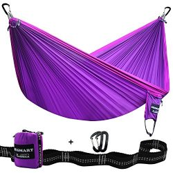 Segmart Camping Hammock with Straps and Carabiners,  Violet / Lilac, Double XL