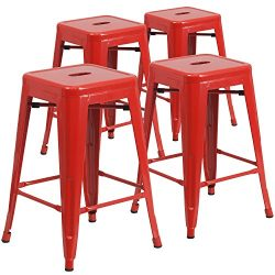 """Flash Furniture 4 Pk. 24"""" High Backless Red Metal Indoor-Outdoor Counter Height Stool with ..."""