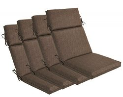 Bossima Indoor/Outdoor Coffee High Back Chair Cushion, Set of 4.Spring/Summer Seasonal Replaceme ...