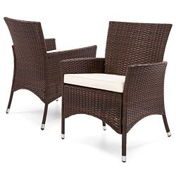 Best Choice Products Outdoor Patio Wicker Dining Chairs (Set of 2)