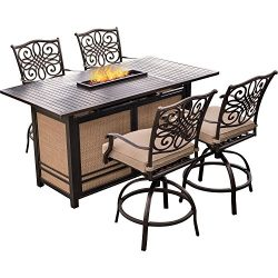 Hanover Traditions 5 Piece High-Dining Bar Set in Tan with 30,000 BTU Fire Pit Bar Table