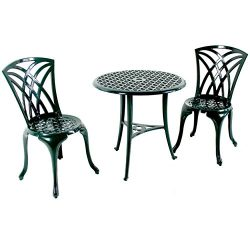 Green Weave Design Aluminum Bistro Set