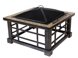 Patio Watcher Fire Pit Fire Table for Outdoor Patio Backyard, 30-inch Square Natural Slate Top F ...
