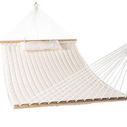 LazyDaze Hammocks 55″ Double Quilted Fabric Hammock Swing with Pillow, Natural