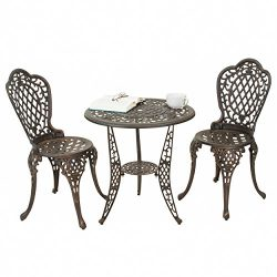 Bronze Cast Aluminum Patio Furniture Bistro Set, 3-Piece