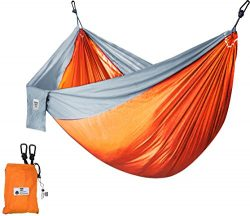 Supreme Nylon Hammock- Supports Up To Two People or 400 LBS – Porch, Backyard, Indoor, Cam ...