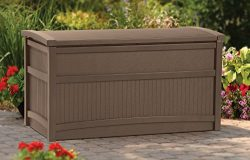 Top Selling Best Indoor Outdoor Soft Mocha Brown 50 Gallon Capacity Weather Resistant Storage Bo ...