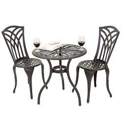 Black Sand Aluminum Patio Furniture Outdoor Bistro Set