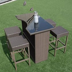 Tangkula 5 PCS Patio Barstool Dining Table Set Wicker Rattan Garden Bar Stool