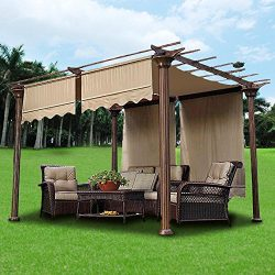 Yescom 2 Pcs 15.5×4 Ft Canopy Cover Replacement with Valance for Pergola Structure Tan