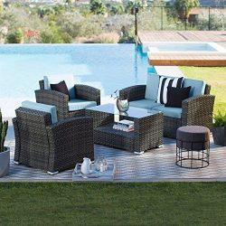 Brown Modern All-Weather Wicker 4 Piece Patio Conversation Set with Cushion | Stylish Contempora ...