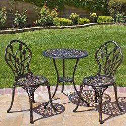 Best Choice Products Outdoor Patio Furniture Tulip Design Cast Aluminum 3 Piece Bistro Set in An ...