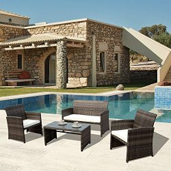 PATIOROMA 4pc Rattan Sectional Furniture Set with Seat Cushions, Outdoor PE Wicker, Grey