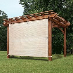 Easy2Hang 8x6ft wheat Alternative solution for Roller Shade,Exterior Privacy Side Shade Panel fo ...