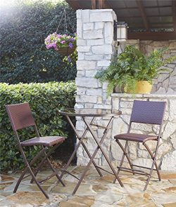 Cosco Outdoor 3 Piece Delray High Top Folding Patio Bistro Set with Steel Frame Dark Brown and R ...