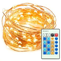 33ft 100 LED String Lights Dimmable with Remote Control, TaoTronics Waterproof Decorative Lights ...