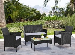 Homewell 4pc Wicker Patio Furniture Set Cushioned Loveseat, Chairs & Table for Dining Lounge ...