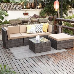 Outdoor Patio Furniture Set,Wisteria Lane 5PCS Upgrade Garden Rattan Sofa Cushioned Seat Wicker  ...