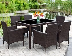 Patio Wicker Dining Set,Wisteria Lane 7 Piece Outdoor Rattan Dining Furniture Glass Table Cushio ...
