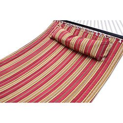 ZENY Hammock Quilted Fabric with Pillow Double Size Spreader Bar Heavy Duty,Burgundy/Tan Pattern