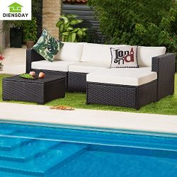 Diensday 5 Piece 5-7 Pieces All-Weather Patio PE Rattan Wicker Sofa Sectional Furniture Set Clea ...