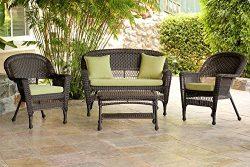 Jeco W00201-G-FS029 4 Piece Wicker Conversation Set with Green Cushions, Espresso
