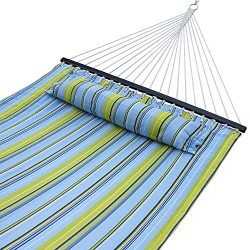 ZENY New Portable Cotton Hammock Quilted Fabric with Pillow Double Size Spreader Bar Heavy Duty  ...