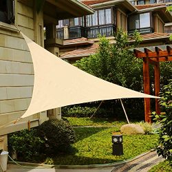 Shade&Beyond 9′ x 9′ x 9′ Sand Color Triangle Sun Shade Sail, UV Block for ...