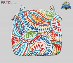 Chair Cushion 16 x 17 Inches Indoor/Outdoor Seat Pads Square (Set of 2, Multi, Paisley) for Outd ...