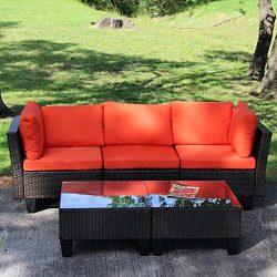 Yongcunsho Outdoor Sofa Patio Furniture Sofa Backyard Aluminum and PE Wicker Rattan Set 5 Piece  ...