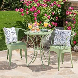 Collins Outdoor 3 Piece Matte Green Iron Bistro Set (Matte Green)