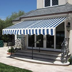Best Choice Products Patio Manual Patio 8.2'x6.5′ Retractable Deck Awning Sunshade S ...