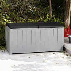 Best Selling Solid Resin Plastic Weather Water Resistant Two-Tone Gray/Black 90-Gallon Outdoor D ...