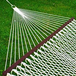 Best Choice Products Hammock 59″ Cotton Double Wide Solid Wood Spreader Outdoor Patio Yard ...
