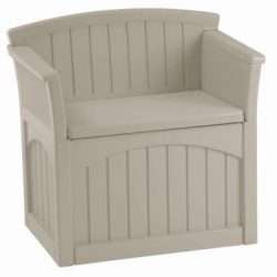 Suncast, Deck Box Patio Storage Outdoor garden bench with backrest and armrests to comfortably s ...