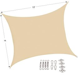Outhere Sun Shade Sail Rectangle 10'X8′ with stainless steel hardware kit- Small Dur ...