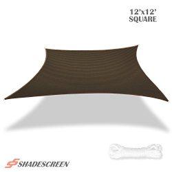 Shade Screen 12′ x 12′ Sun Shade Sail for Patio Backyard Deck UV Block Fabric &#8211 ...