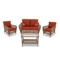 Quality Outdoor Living Tarrytown All-Weather Resin Wicker Deep Seating Patio Set, 4-Piece, Honey ...