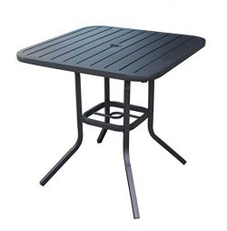 Heavy Duty Steel Frame 29.5 in x 29.5 in Square Bistro Patio Bar Restaurant Outdoor Dining Table ...
