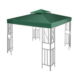 Flexzion 12'x12′ Gazebo Replacement Canopy Top Cover (Green) – Dual Tier with  ...